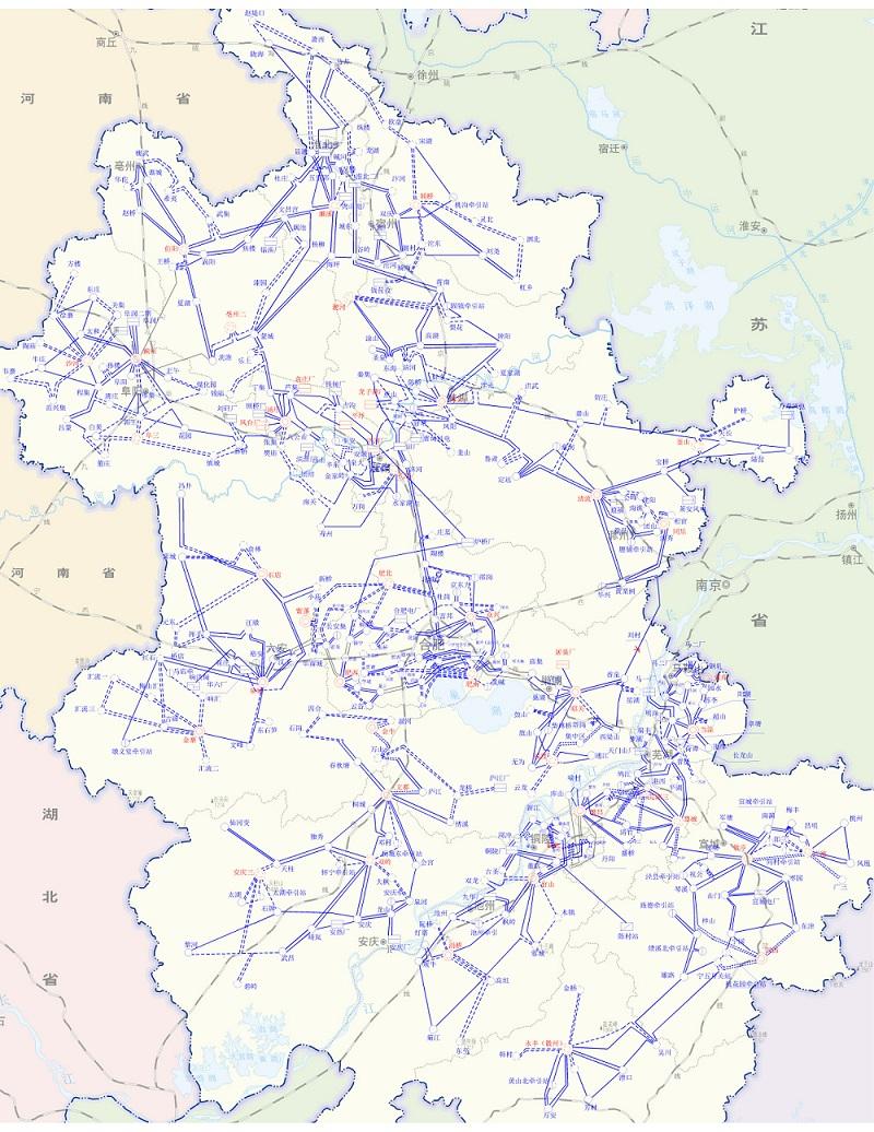 2021年安徽电网220千伏电网地理接线图